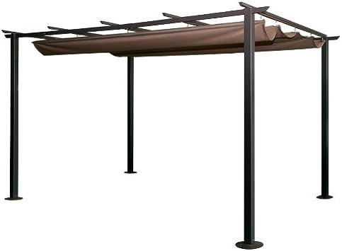 Cenador de 350 x 250 x 225 cm, de acero, deslizante, con lona marrón, para jardín: Amazon.es: Hogar