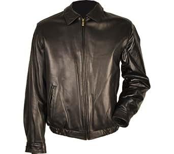 Chaps Lamb Leather Bomber Jacket-Black-M