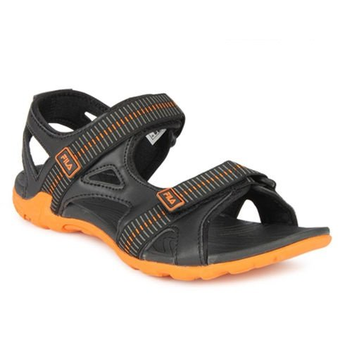ad7c073b1e13 Fila Men Warner Black and Orange Sandals and Floaters -7 UK India ...