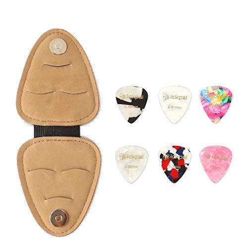 MINGPINHUIUS Guitar Pick Holder Case with 6 Free Guitar Picks, PU Leather Mini and Portable Design Gifts For Kids Guitar Players (6 Picks) (Guitar Pick Storage Case)