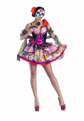 Party King Day Of The Dead Women's Costume Set with Mask, Multi, X-Large -