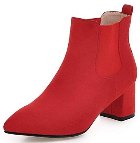 Idifu Kvinners Klassisk Spiss Tå Midten Chunky Hæler Faux Suede Elastisk  Chelsea Boots Ankelsokker Rød
