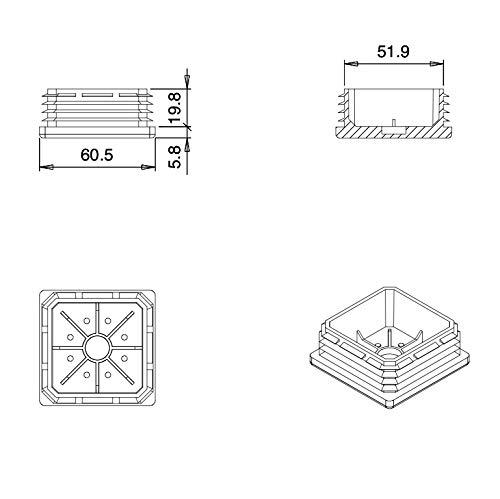 EPD260x10-FBA 10 St/ücke ajile Kunststoff Fu/ßkappen Lamellenstopfen Vierkantrohrstopfen Endkappen f/ür Quadratr/öhre B/ürom/öbel WEISS f/ür 60x60 mm AUSSENUMFANG Rohr