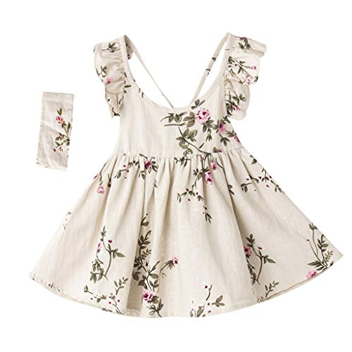 WOCACHI Toddler Baby Girls Dresses, Kid Baby Girls Sleeveless BacklessPrincess Dress Strap Floral Print Clothes Set Back to School Easter Egg Costume Parade Bunny Lily Eggs Roll Basket Mother's Day]()