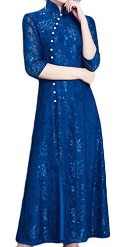 Jaycargogo Femmes Élégantes Robes Maxi Swing Crochet Dentelle Bouton Grenouille Col Stand Bleu