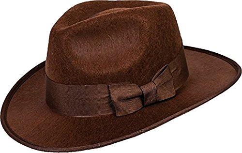 Brown Fedora Adult Hat (40's Brown Adventurer Fedora Steampunk Hat Adult Men Costume Accessory Gangster)