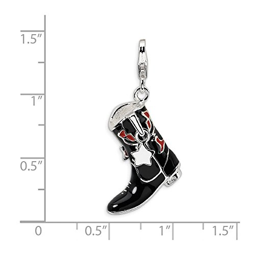Solid .925 Sterling Silver Black/Red Enameled Cowboy Boot w/Lobster Clasp Charm 44 mm