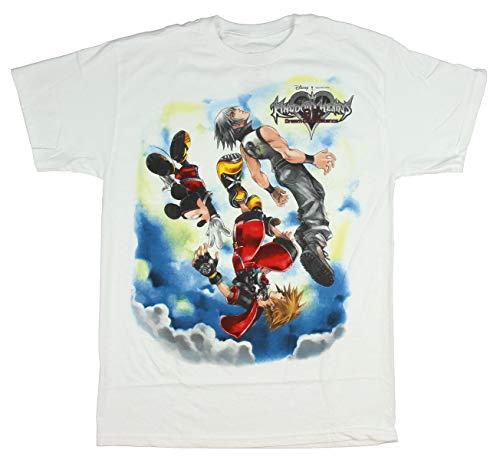 Kingdom Hearts Dream Drop Men White T-Shirt (X-Large) (Kingdom Hearts Mad Engine)