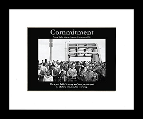 Commitment: Selma Voting Rights March (Framed African American Motivational Poster), 8x10 inches
