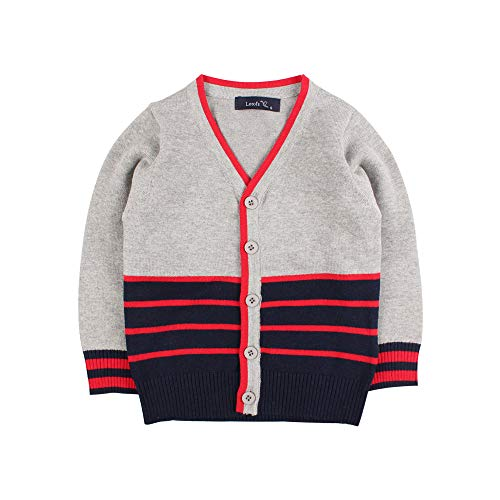 Boys Cotton Crochet Sweater V Collar Baby Striped Button Up Cardigan Long Sleeve Toddler Classic Knit Casual Outerwear (Grey-Navy, S)