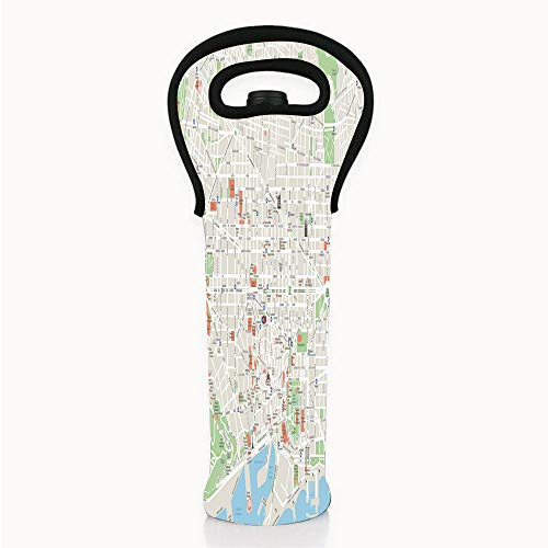 Neoprene Wine/Water Bottle tote bags, Map,Map of Barcelona City Streets Parks Subdistricts Points of Interests Decorative,Beige Lime Green Light Blue,Fit for Champagne,Wine,Beer Bottles,Drinks -