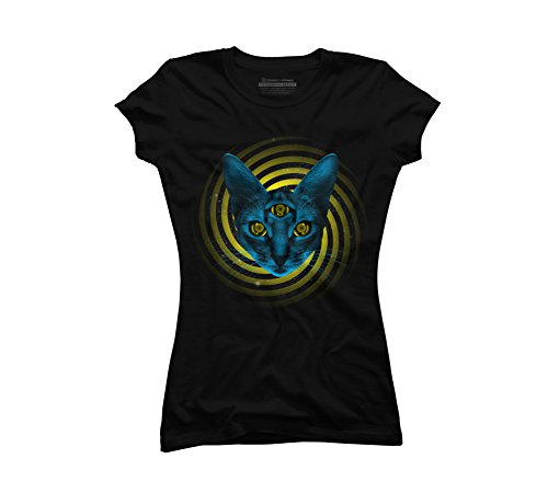 Hypno Cat Juniors' Small Black Graphic T Shirt - Design By Humans