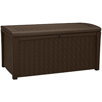 Plastic Outdoor Patio Storage Container Deck Box U0026 Garden Bench, Brown