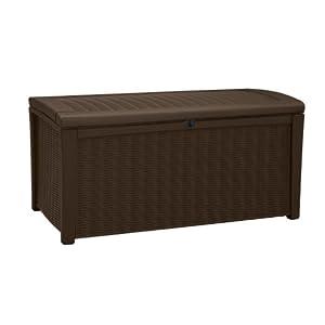 Keter Borneo 110 Gal. Plastic Outdoor Patio Storage Container Deck Box & Garden Bench, Brown