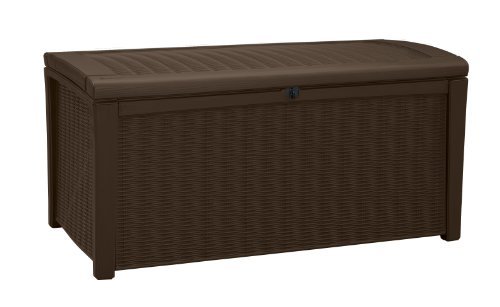 Keter Borneo 110 Gal. Plastic Outdoor Patio Storage Container Deck Box & Garden Bench, Brown (Container Patio Cushion Storage)