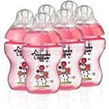 Tommee Tippee Closer to Nature 260ml Decorated Girls Baby Feeding Bottles 6 Pack Great Gift for Baby Free Shipping Ship Worldwide