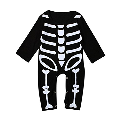 Funny 1 Year Old Halloween Costumes - Fashion Halloween Kids Long Sleeve Bone Print Romper Clothes for Infant Baby Boys Girls by CSSD (12M, Black)