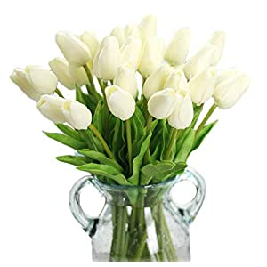 Kitatayi Artificial Tulips Flowers, 20 Pcs Real Touch PU Tulips Arrangement Bouquet for Home Room Office Party Wedding Decor 27