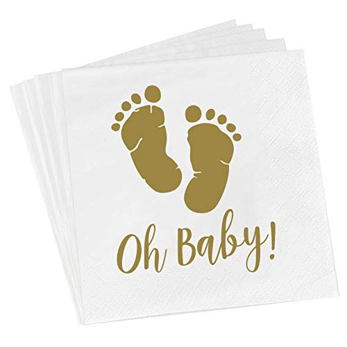 - Oh Baby Napkins Gold Baby Shower Napkins 3 Ply 6.3 Inches for Boy and Girl Baby Shower Supplies