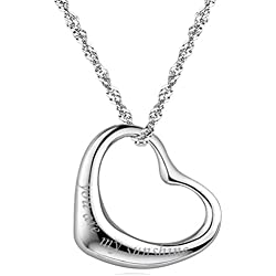 "Sterling Silver Open Heart Necklace Pendant Quote ""you are my sunshine"" White Gold Plated"