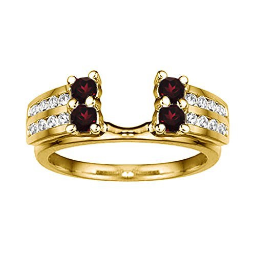 .52 Diamond and Ruby Wedding Wrap in 14k Yellow Gold,(G-H,I2)(0.52Ct) Size 3 To 15 in 1/4 Size Interval ()