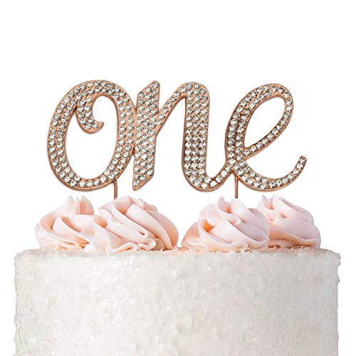 1st First Birthday Cake Topper Decoration - Rose Gold One 1-1st Birthday Party Supplies Smash Cake Decorations - For Baby Girls or Boys (One Rose) ()