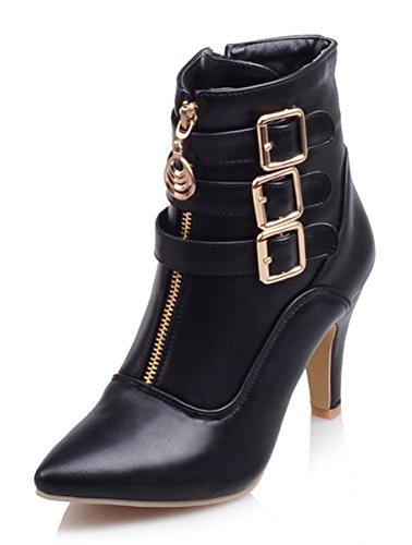 925dc8a90ac1c YE Damen Spitze Blockabsatz High Heels Stiefeletten mit Schnallen ...