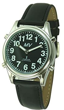 Sprechende Funk-Armbanduhr Damen & Herren Lederarmband Black Stile Damenuhr