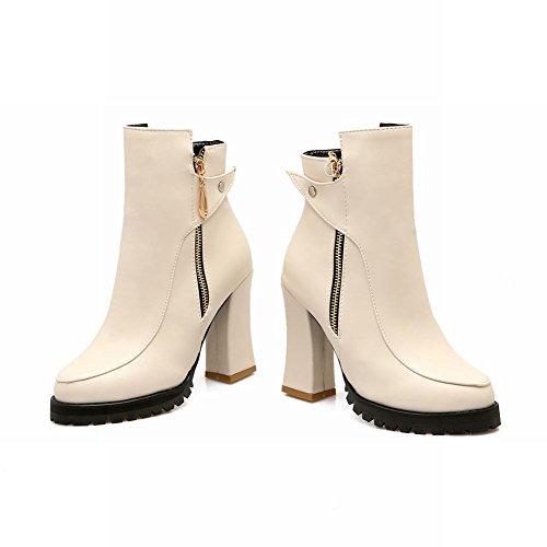 Mee Shoes Damen chunky heels Reißverschluss Plateau Stiefel Beige