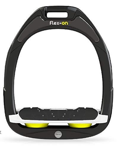【 限定】フレクソン(Flex-On) 鐙 グリーン COMPOSITE RANGE Mixed ultra-grip フレームカラー: ブラック フットベッドカラー: ホワイト エラストマー: イエロー 10224   B07KMT1X6L