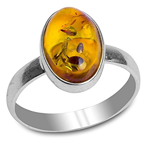 Amber Sterling Silver Oval Ring