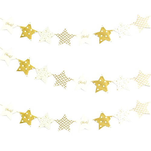 1Set Colorful Paper Flag Banner&Flags Garland Floral Bunting Banners DIY Kids Birthday/Wedding Event Party Decoration Supplies Gold Star