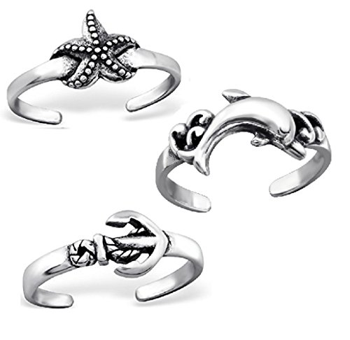 ICYROSE 925 Sterling Silver set of 3 Starfish, Anchor, Dolphin Adjustable Toe Ring or Above Knuckle Ring Mid Finger ()