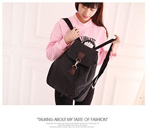 Tibes Pequeña mochila de lona de la universidad mochila casual para las mujeres Negro1