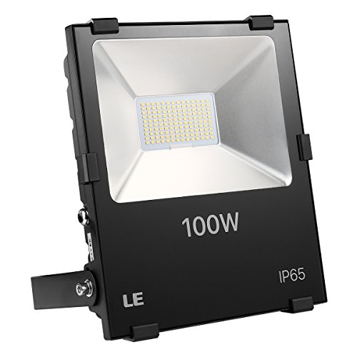 LE Outdoor LED Flood Light, 100W 11000LM, IP65 Waterproof, 250W HPS Bulb Equivalent, Daylight White 5000K, 110 Degree Beam Angle, Security Light for Home, Backyard, Patio, Garden and More