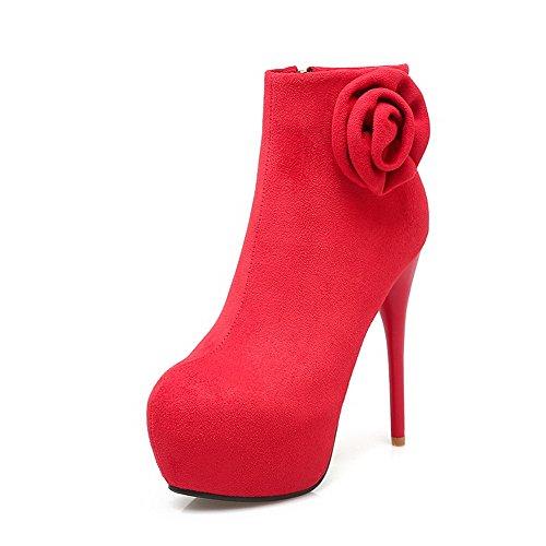 VogueZone009 Damen Reißverschluss Rund Zehe Stiletto Niedrig-Spitze Stiefel, Rot, 38
