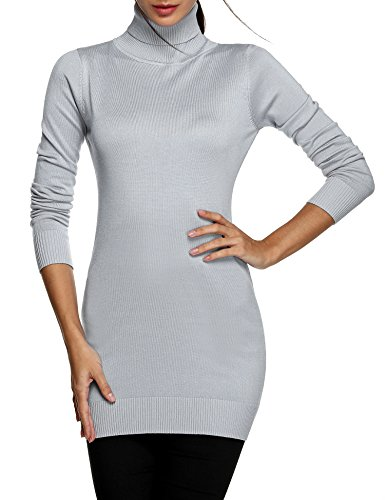 ACEVOG Women's Turtleneck Long Sleeve Sweater Solid Knit Tunic Top Pullovers, Gray, (X 30 Light Gray Top)