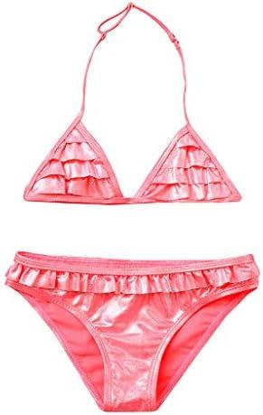 Newmao Toddler Girls Swimsuit Halter Ruffles Dot Printed Swimsuit Tops+Shorts Swimwear Set