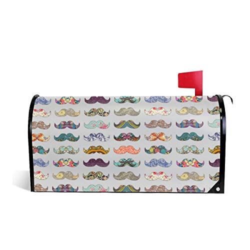 Mailbox Covers Standard Size Magnetic Mail Cover Mustache Mania Grey Wraps Letter Post Box Cover 21