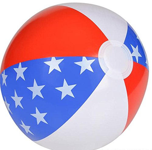 12 Pack - PATRIOTIC RED, WHITE AND BLUE STAR BEACHBALL ()