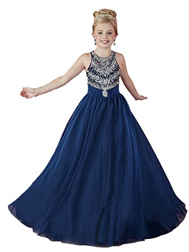 Wenli Kids Glitz Formal Occasion Dresses Girls Beaded Pageant Gowns 6 US