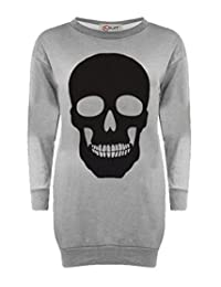 Women Ladies Skull Print Halloween Long Sweatshirt Jumper Pullover