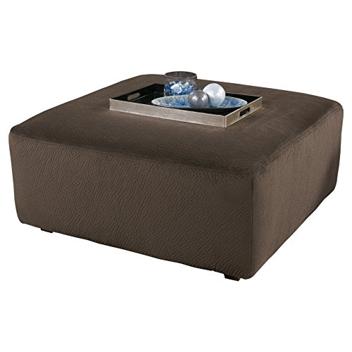 Ashley Furniture Signature Design - Jessa Place Oversized Accent Ottoman - Contemporary Fabric Upholstery - Chocolate ()