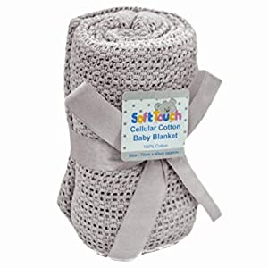 100% Cotton Cellular Soft Baby Blanket for Cot Pram Moses Basket, 70x90cm Colour: Grey Blanket