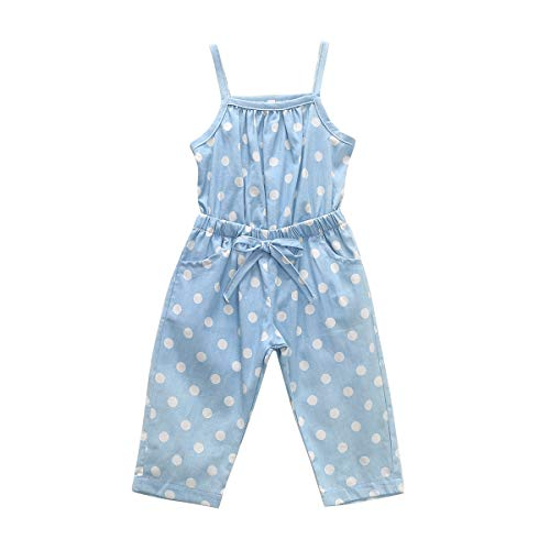 AILENFEISO Toddler Baby Girls Polka Dot Bib Pants Strap Denim Romper Jumpsuit Suspenders Overalls Strap Outfit (Blue Dot, 4-5 Years) ()
