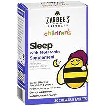 Zarbee's Naturals Children's Sleep Melatonin Supplement Chewable Tablets Grape Flavor - 30 ct, Pack of 3