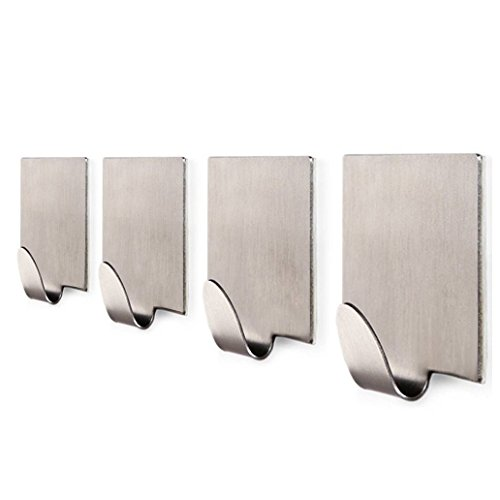 KaiHua 3M Self Adhesive Bathroom Hooks Coat Robe Rack Kitchen Hooks for Utensils Towels Wall Mount, Brushed Stainless Steel - 4 Pack