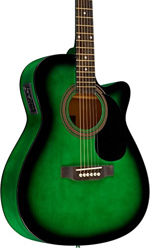 Rogue RA-090 Concert Cutaway Acoustic-Electric Guitar Green Blue Burst