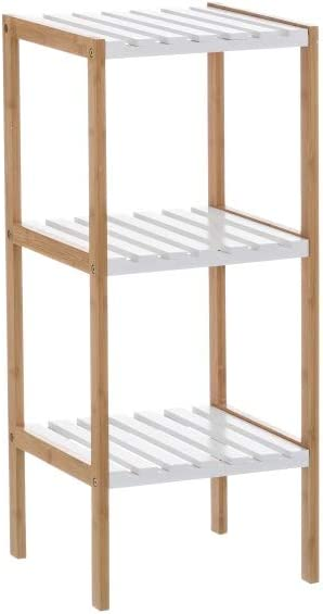 Estantería con 3 baldas de bambú nórdica Blanca de 80x33x34 ...