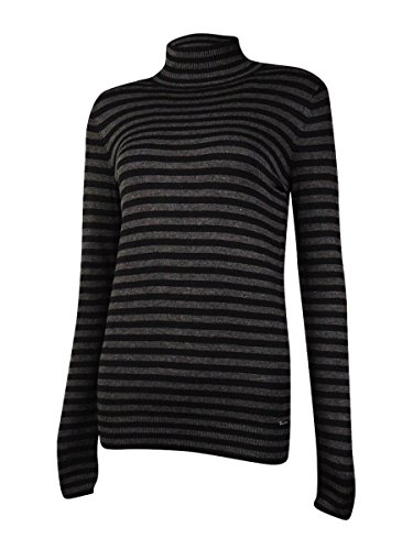 Calvin Klein Women's Essential Striped Mock Neck Sweater, Black/Charcoal Combo Black/Charcoal, Small